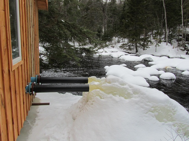Hydro pipe discharge frozen in winter