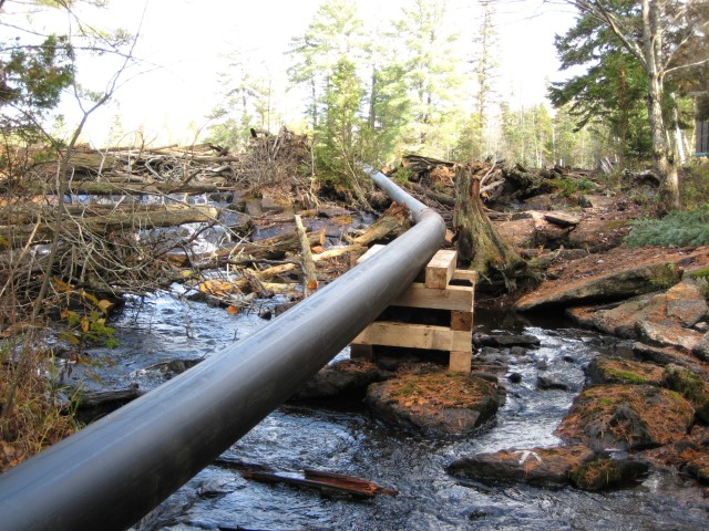 Micro-hydro pipe and crib