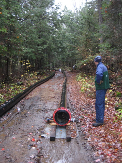 450' of pipe to drag up a waterfall