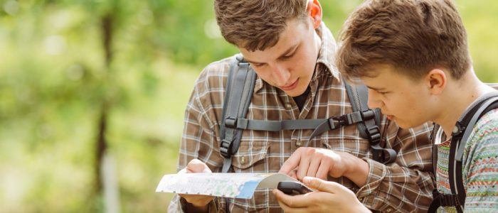 Photo of Two Teens Geocaching