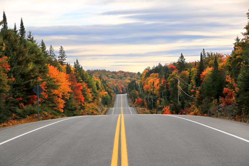 Photo of an Algonquin Highway. This Handy Fall Bucket List Includes an Autumn Drive.