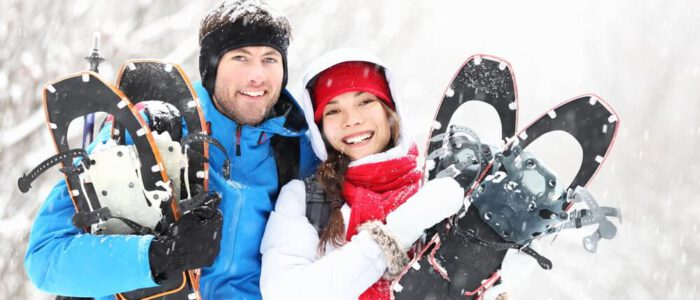 Photo of a Couple of Snowshoers at the Best Couples Resort in Algonquin.
